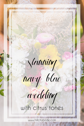 Navy Blue Wedding with Citrus Tones - Pink Fuschia Gold Peach Blush