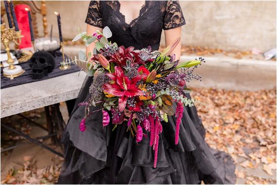 Gothic Wedding Dress | Halloween Wedding Ideas on a Budget | Halloween Wedding Flowers