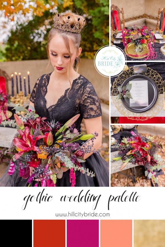 Gothic Wedding Dress Inspiration for Halloween Color Palette | Hill City Bride Virginia Weddings Blog