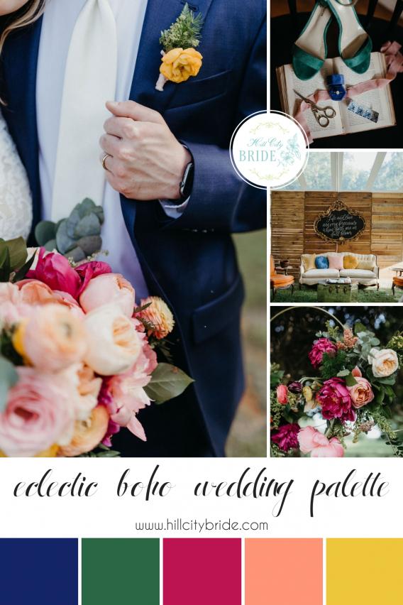 Eclectic Boho Wedding Color Palette | Hill City Bride | Bohemian Weddings