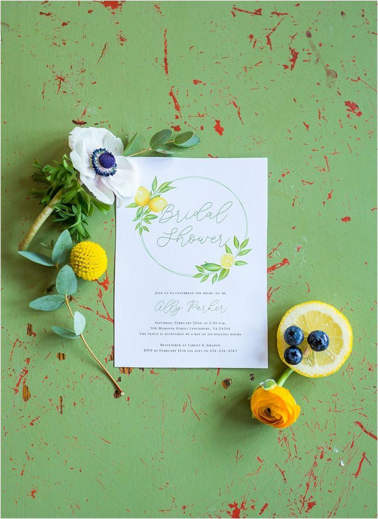Lemon Themed Bridal Shower Themes | Hill City Bride Virginia Weddings Wedding Blog Invitation
