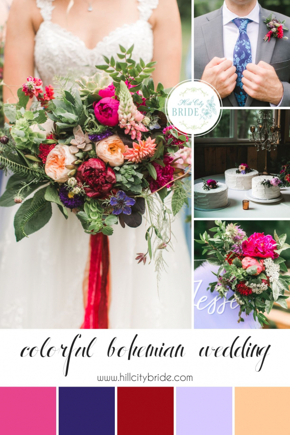 Colorful Rustic Bohemian Wedding Theme Color Palette | Hill City Bride Virginia Weddings