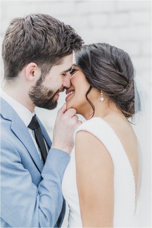 Intimate White Wedding During Coronavirus | Hill City Bride Virginia Weddings Kiss
