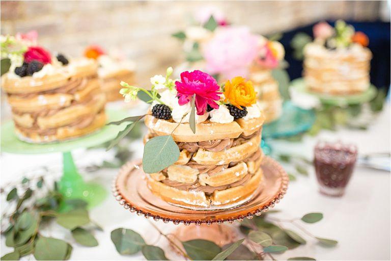 Breakfast Wedding Reception with Beautiful Belgian Waffle Cakes | Hill City Bride Virginia Wedding Blog