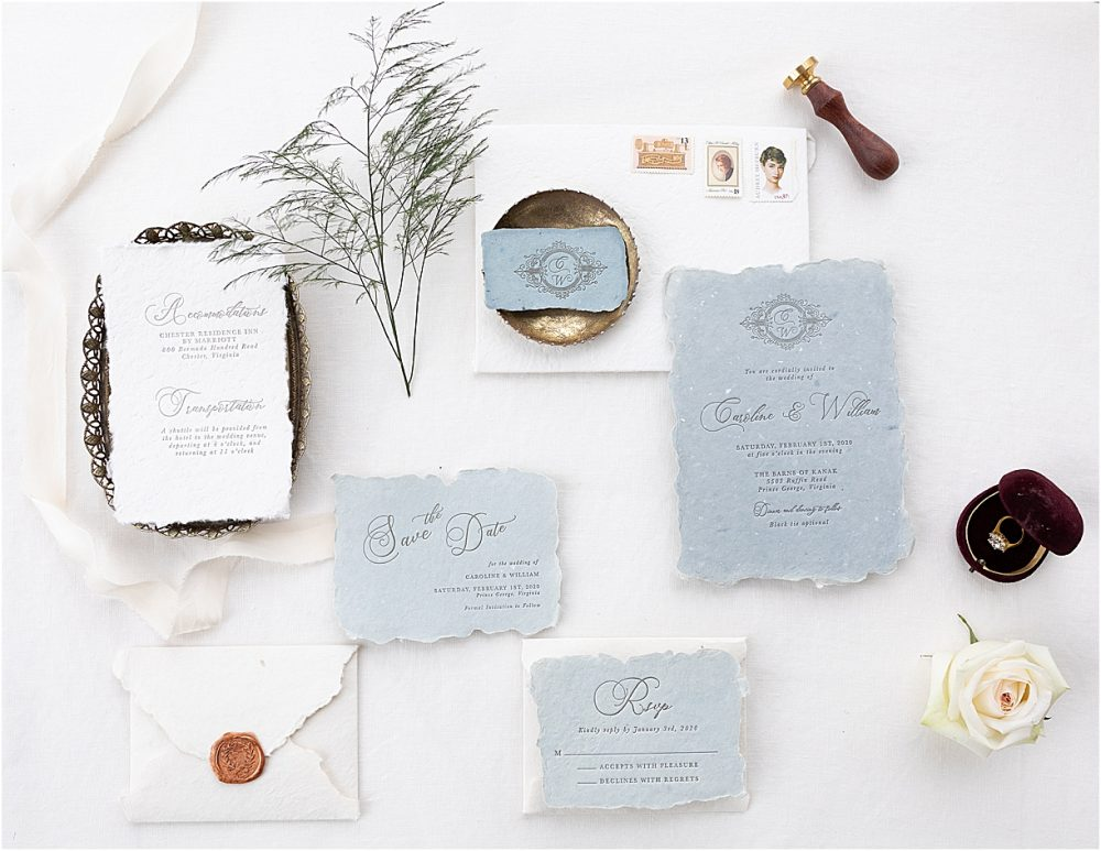 Steel Blue and Burgundy Virginia Wedding | Hill City Bride Wedding Ideas Blog Stationery
