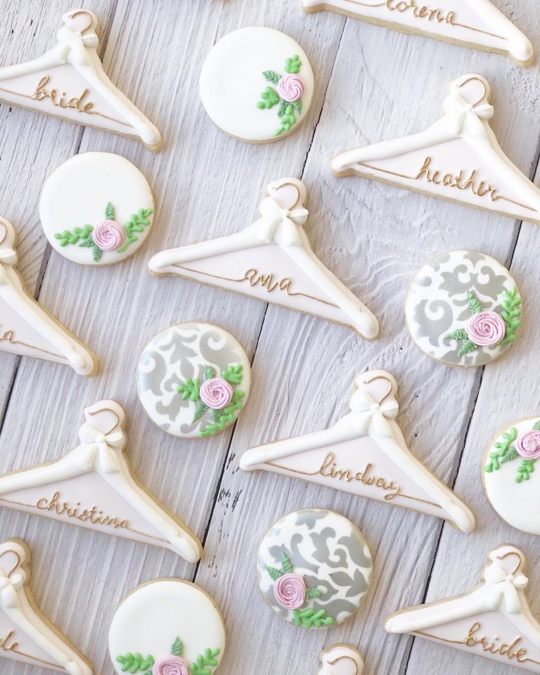 Decorated Wedding Cookies Custom Bridesmaid Hangers | Hill City Bride