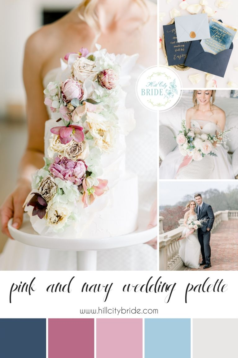 Blush Pink and Navy Blue Wedding Color Palette | Hill City Bride