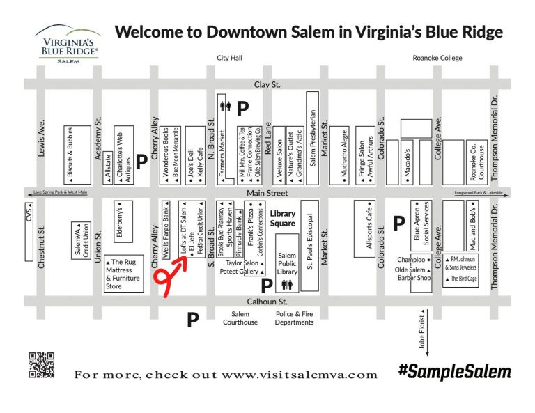 Salem, Virginia Map of Things to Do