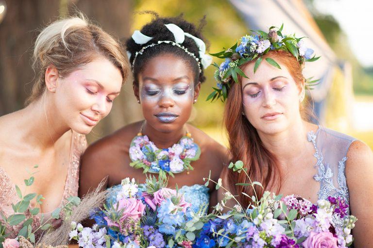 Pastel Wedding Colors | Purple and Blue Wedding Ideas Bridesmaid Makeup