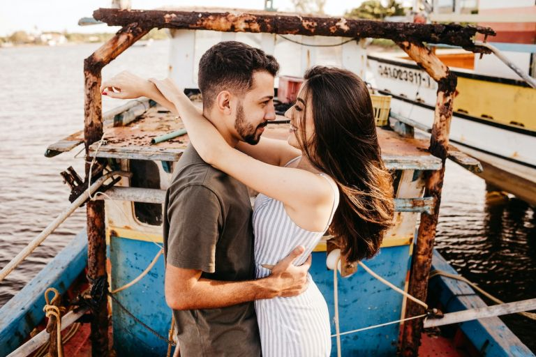 Couple on Honeymoon Boat Male Female