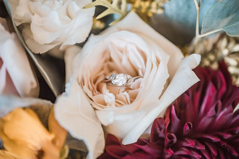 Rose with Wedding Rings