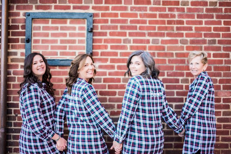 Bride and Bridemaids in Shirts Robes