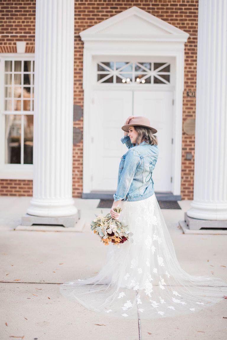 Stylish Bride with Hat and Denim Jacket