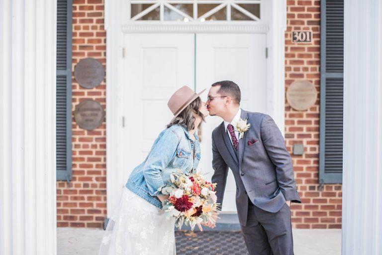 Virginia Micro Wedding Bride Groom Kiss