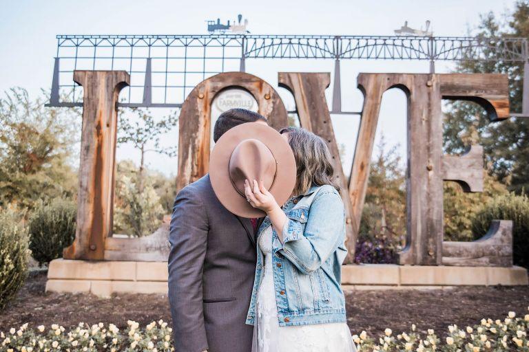 Virginia Micro Wedding Bride Groom Kiss Hat