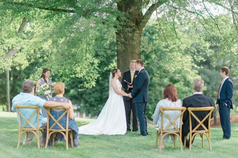Ceremony Outside Tree Family Blue Virginia Micro Wedding Intimate Event Big Day