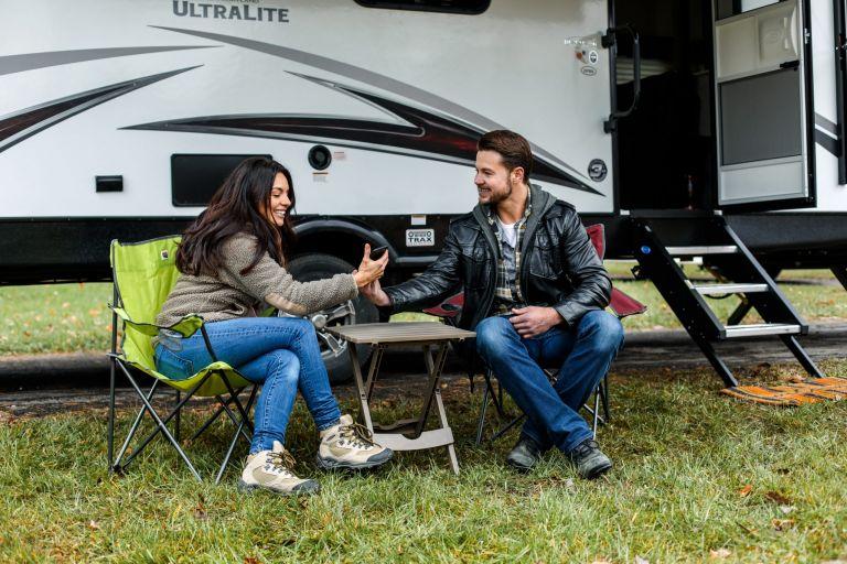 Couple on an RV Honeymoon Road Trip