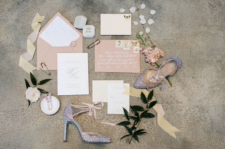 Wedding Invitations Pastel Charlottesville Virginia Wedding at The Wool Factory