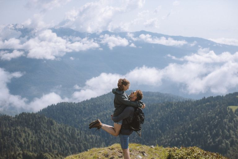 Couple Outside in Virginia Mountains on Honeymoon