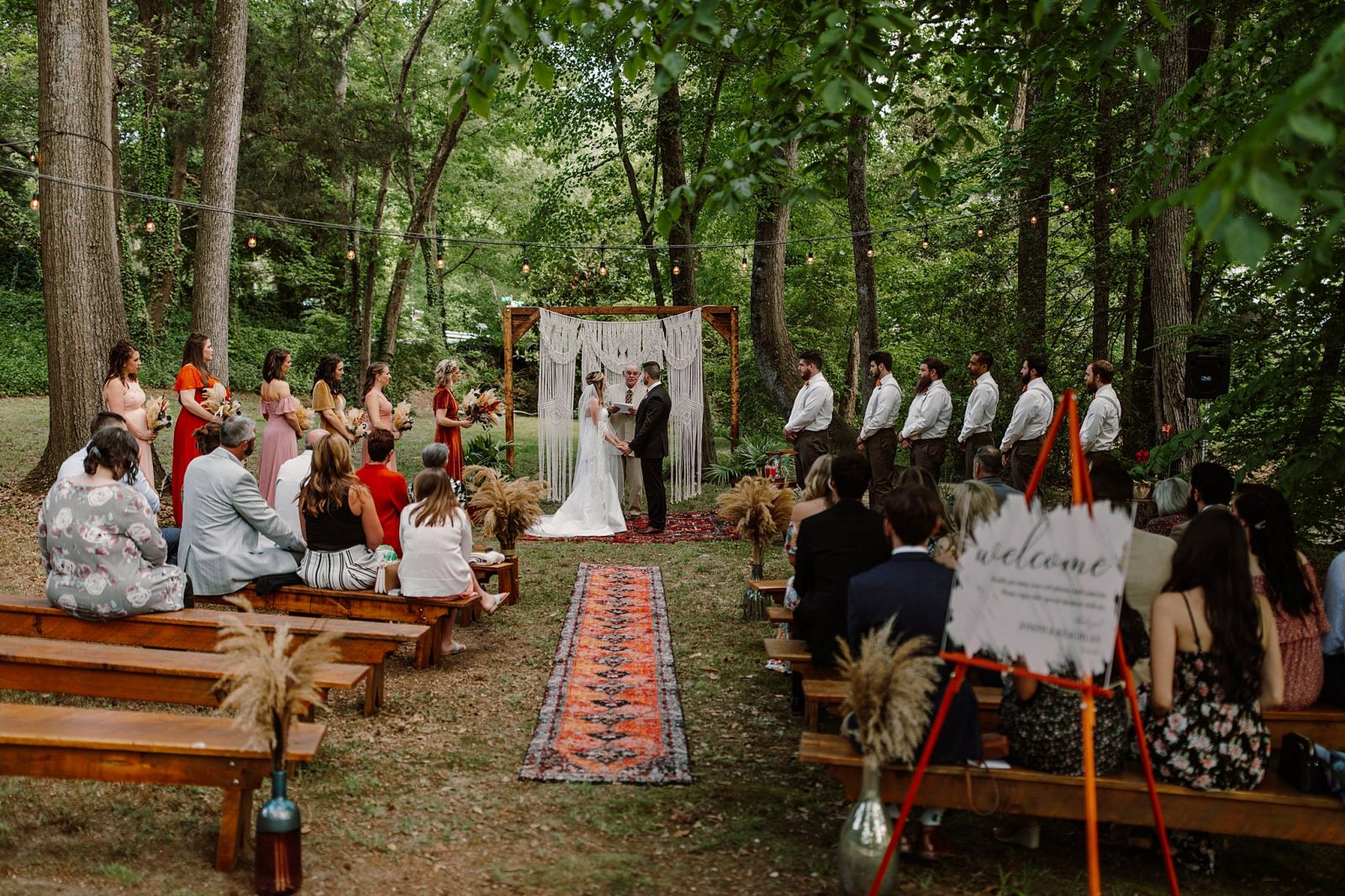 Virginia Backyard Wedding with a Fall Color Palette Ceremony