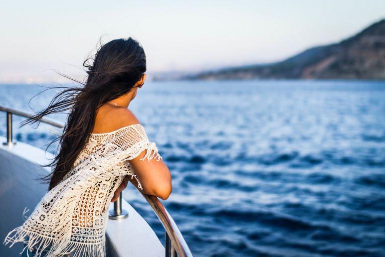 Woman on Cruise Ship on Her Honeymoon