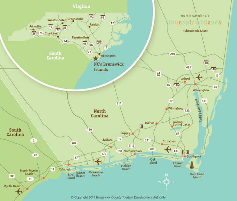 Brunswick Islands NC Map