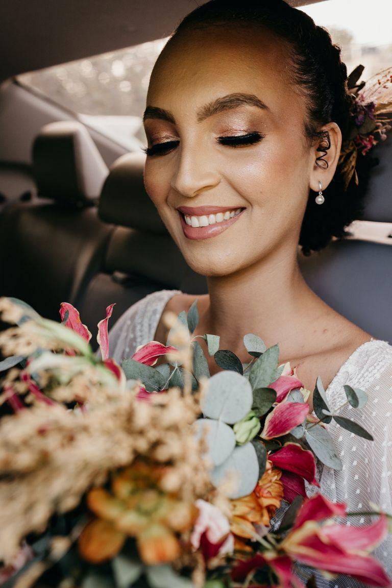 Bride in Car Leaving Wedding