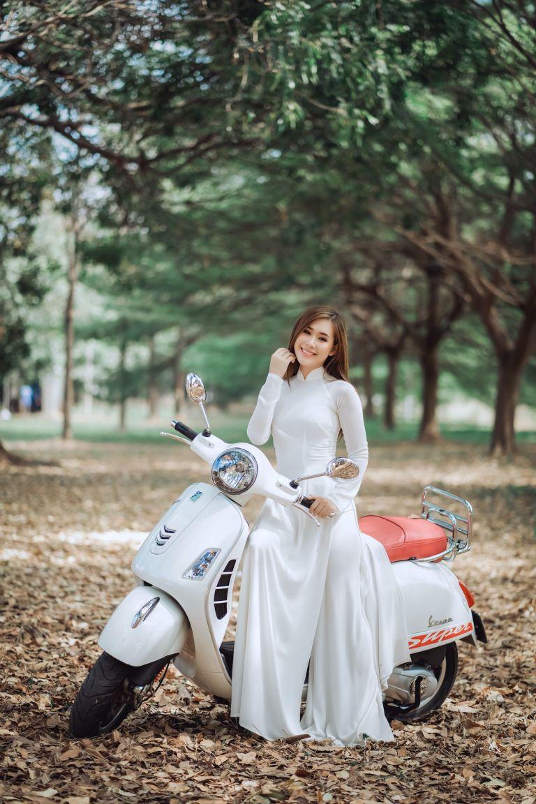 Bride on Motorcycle in Dress